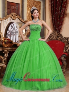 Discount Green Ball Gown Strapless Floor-length Tulle Embroidery with Beading Quinceanera Dress