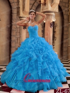 Discount Quinceanera Dresses In Aqua Blue Ball Gown Sweetheart With Ruffles Organza