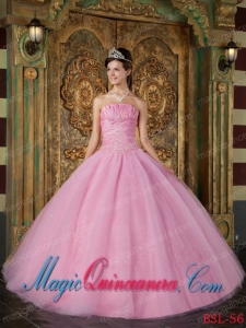 Discount Quinceanera Dresses In Rose Pink Ball Gown Strapless With Appliques Tulle