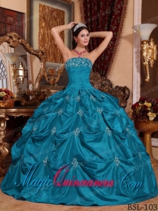 Discount Quinceanera Dresses In Teal Ball Gown Strapless With Taffeta Appliques
