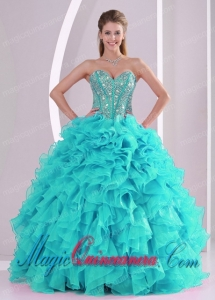 Elegant Turquoise Ball Gown Sweetheart Ruffles and Beaded Decorate Dramatic Quinceanera Dress in Sweet 16