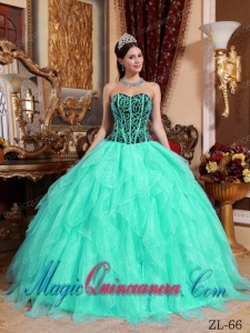 Embroidery with Beading Sweetheart Apple Green and Black Dramatic Quinceanera Dress