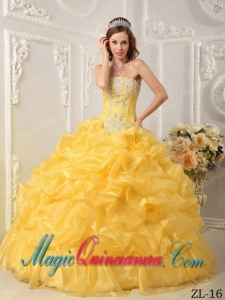 Fashion Yellow Ball Gown Strapless Floor-length Organza Beading Quinceanera Dress