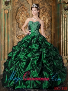 Hunter Green Ball Gown Sweetheart Floor-length Picks-up Elegant Quinceanera Dresses