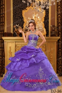 Lavender Ball Gown Strapless Floor-length Organza Beading Dramatic Quinceanera Dress