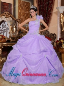 Lilac Ball Gown One Shoulder Floor-length Organza Appliques Discount Quinceanera Dresses