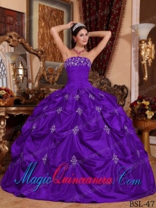 Purple Ball Gown Strapless Floor-length Taffeta Appliques Dramatic Quinceanera Dress