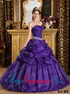 Purple Ball Gown Strapless Quinceanera Dress with Pick-ups