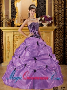 Purple Ball Gown Strapless Taffeta Quinceanera Dress with Embroidery