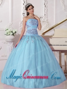 Sky Blue Gorgeous Ball Gown Strapless Taffeta and Tulle Beading Quinceanera Dress