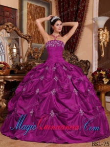 Strapless Floor-length Taffeta Fuchsia Ball Gown Appliques Fashion Quinceanera Dress