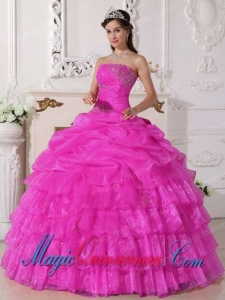 Strapless Pink Ball Gown Gorgeous Organza Appliques Quinceanera Dress