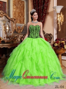 Sweetheart Embroidery with Beading Fashion Quinceanera Dress in Spring Green and Black