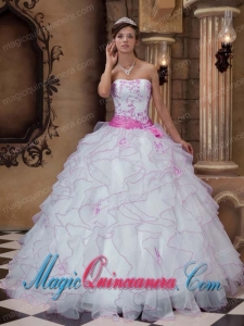 White Ball Gown Strapless Floor-length Organza Embroidery Dramatic Quinceanera Dress