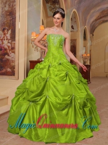Yellow Green Ball Gown Strapless With Taffeta Beading and Embroidery Discount Quinceanera Dresses