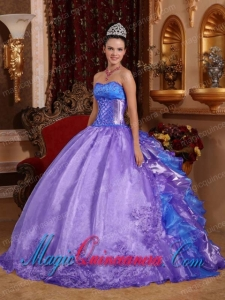 Purple Ball Gown Strapless Organza Fashion Quinceanera Dress with Embroidery