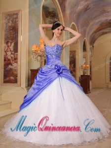 Purple and White A-Line Sweetheart Floor-length Beading Fashion Quinceanera Dress