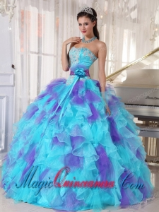2014 Colourful Organza Appliques Decorate Perfect Quinceanera Dresses