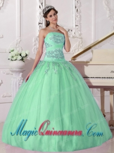 Apple Green Ball Gown Strapless Taffeta and Tulle Beading Fashion Quinceanera Dress