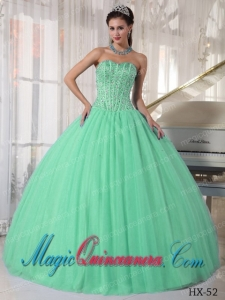 Apple Green Ball Gown Sweetheart With Tulle Beading Perfect Quinceanera Dresses