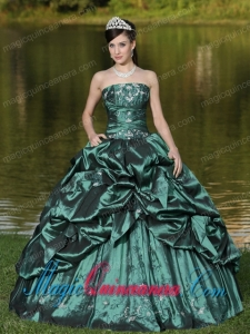 Custom Size Strapless Fashion Quinceanera Dress Beaded Decorate With Green