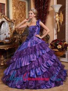 Fashion Ball GownOne Shoulder Taffeta and Organza Hand Made Flowers Quinceanera Dress