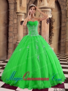 Green Ball Gown Floor-length Organza Beading Perfect Quinceanera Dresses
