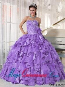 Lavender Ball Gown Sweetheart Organza Beading Perfect Quinceanera Dresses