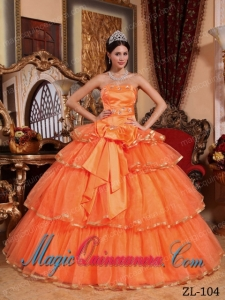 Orange Red Ball Gown Strapless Floor-length Organza Ruffles New style Quinceanera Dress