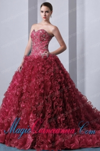 Organza Red A-Line Sweetheart Brush Train Beading and Ruffles Fashion Quinceanea Dress