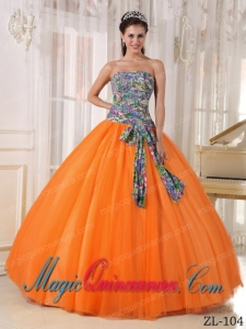 Perfect Quinceanera Dresses In Orange Ball Gown Strapless With Tulle and Printing Sequins