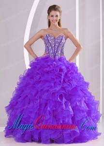 Purple Ball Gown Sweetheart Ruffles and Beading Lace Up New style Quinceanera Gowns