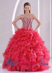 Red Ball Gown Sweetheart Ruffles and Beading Decorate Perfect Quinceanera Dresses in Sweet 16