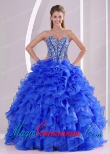 Royal Blue Sweetheart Ruffles and Beaded Decorate The Super Hot Sweet 16 Dresses On Sale