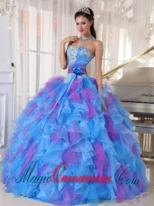 Sweetheart Appliques and Ruffles Organza Popular Sweet 16 Dresses