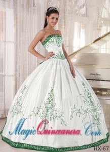 White and Green Strapless Floor-length Embroidery Sexy Sweet 16 Dresses