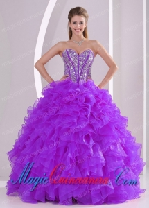 2014 Sweetheart Luxurious Pretty Quinceanera Dress with Ruffles and Beaded Decorate