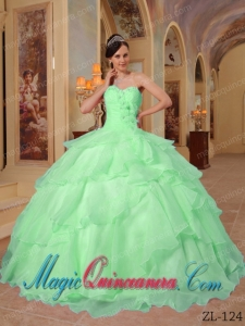 Apple Green Ball Gown Sweetheart Floor-length Organza Beading Cheap Sweet 16 Dresses