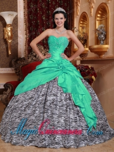 Apple Green Ball Gown Sweetheart Floor-length Taffeta and Zebra Beading New style Quinceanera Dress