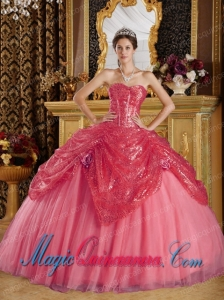 Ball Gown Sweetheart Sequined and Tulle Coral Red Handle Flowers Pretty Quinceanera Dress