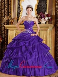 Beautiful Purple Ball Gown Strapless With Taffeta Appliques Perfect Quinceanera Dresses