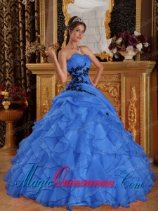 Blue Ball Gown Sweetheart Floor-length Organza Appliques New style Quinceanera Dress
