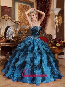 Blue and Black Sweetheart Beading and Ruffles New style Quinceanera Dress