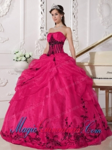 Colourful Ball Gown Strapless With Organza Appliques Perfect Quinceanera Dresses