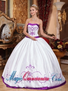 Colourful Strapless With Satin Embroidery Perfect Quinceanera Dresses