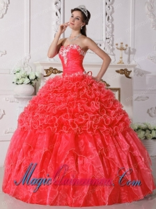 Coral Red Ball Gown Strapless Floor-length Organza Embroidery with Beading New style Quinceanera Dress