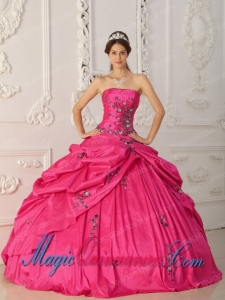 Coral Red Ball Gown Strapless With Taffeta Appliques Perfect Quinceanera Dresses