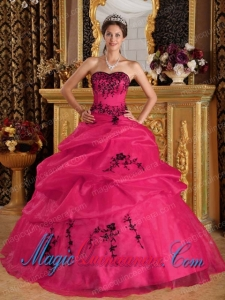 Coral Red Ball Gown Sweetheart With Embroidery Perfect Quinceanera Dresses