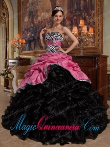 Coral Red and Black Ball Gown Sweetheart Floor-length Pick-ups Taffeta and Organza New style Quinceanera Dress