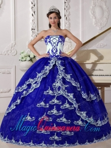 Dark Blue and White Ball Gown Strapless Floor-length Organza Appliques New style Quinceanera Dress